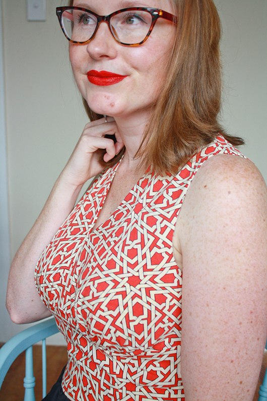 Sew Over It 1940's Tea Dress pattern hack: fully-lined, sleeveless bodice variation from Jennifer Lauren Vintage patterns // Sewing Indie Month