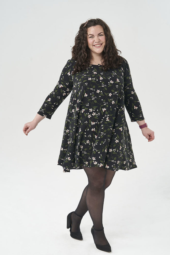 Samantha modelling the Nancy Dress