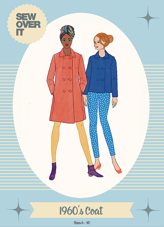 Illustration of two women wearing Sew Over It's 1960's Coat sewing pattern, one in a cropped blue version and the other in a full-length orange version.