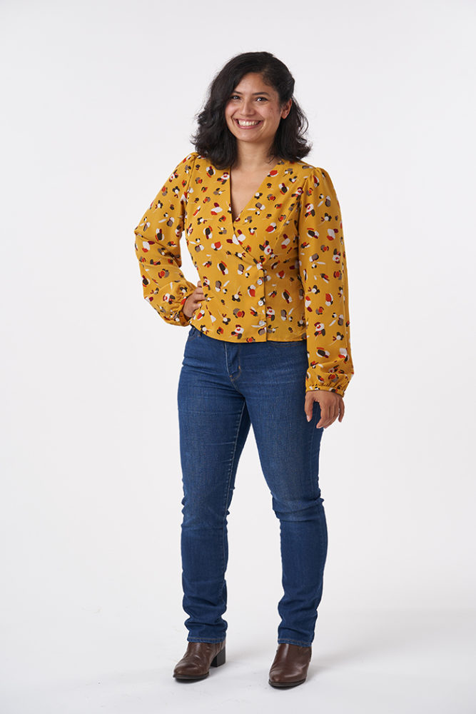 Cat wearing the Esther Blouse Sewing Pattern - Sew Over It