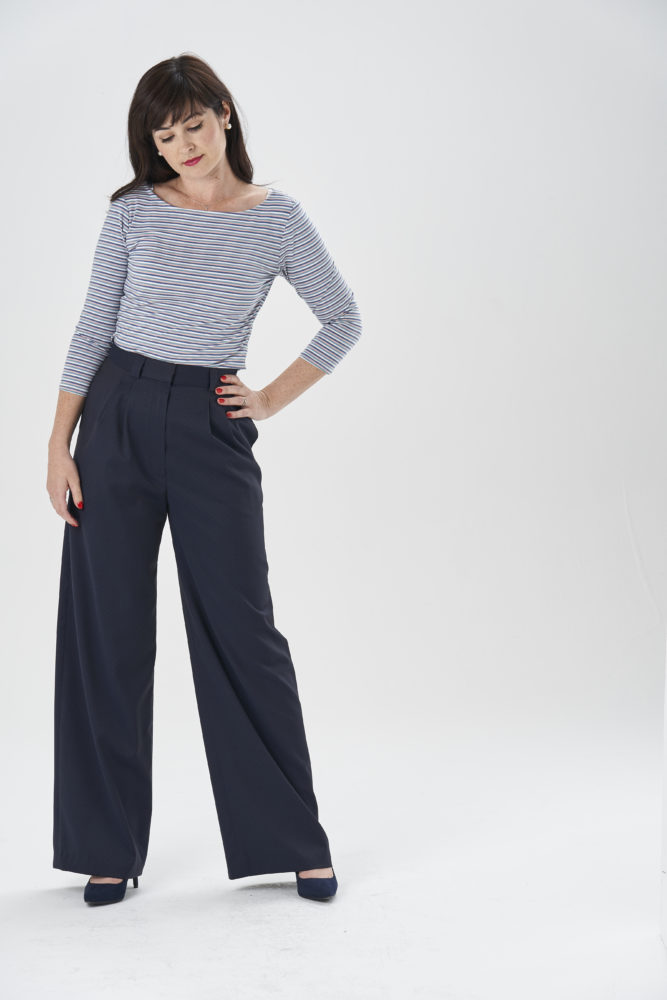 Lisa Comfort in a striped Edie Top and Nina Trousers