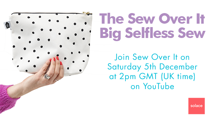 Image shows a polka dot drawstring bag and details of Sew Over It's Big Selfless Sew on Saturday 5th December 2020