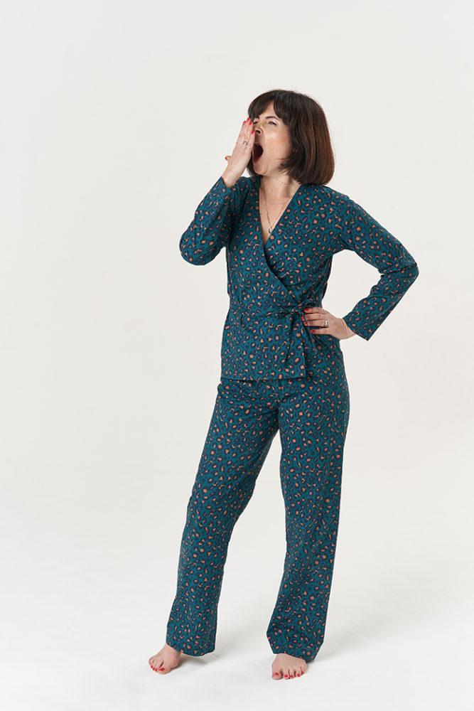 Lisa yawning while wearing her snazzy Luna Pyjamas