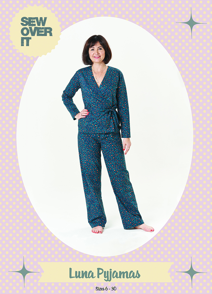 Lisa wearing the Luna Pyjamas on the front of the sewing pattern