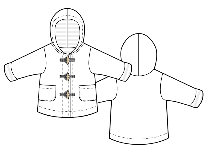 Technical drawing of the Walnut Duffle Coat, front and back