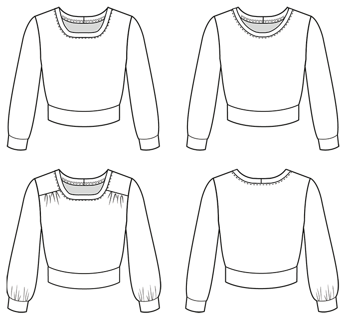 Technical drawing showing the front and back of the Roxy Jumper sewing pattern