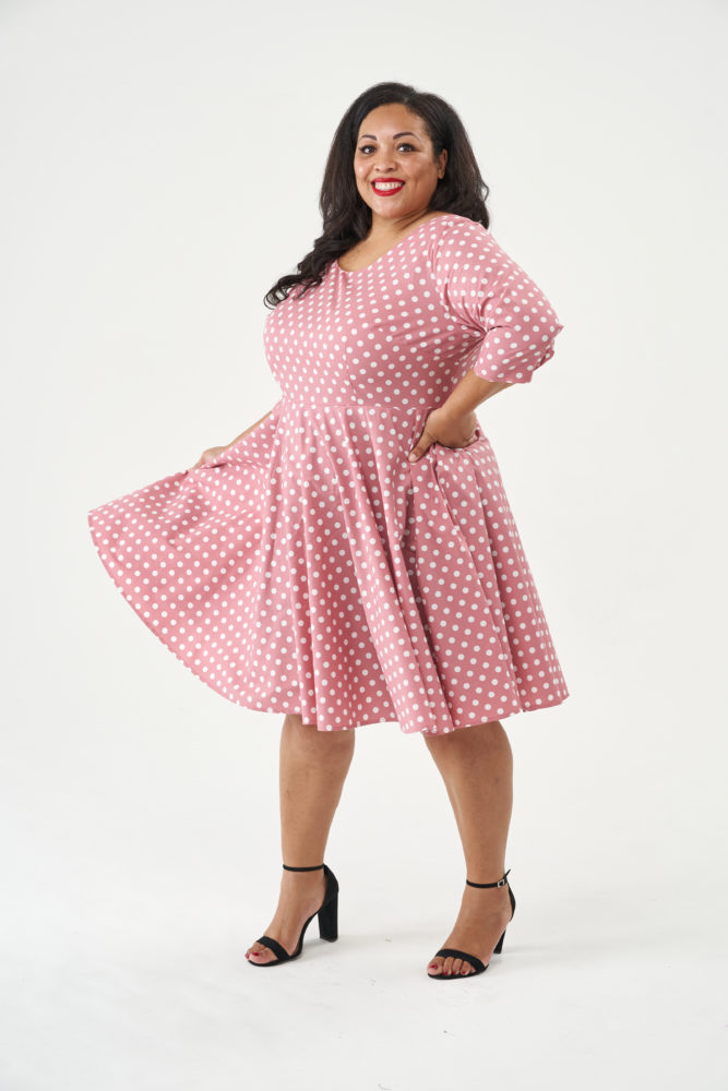 Betty Dress in Pink polka dot fabric