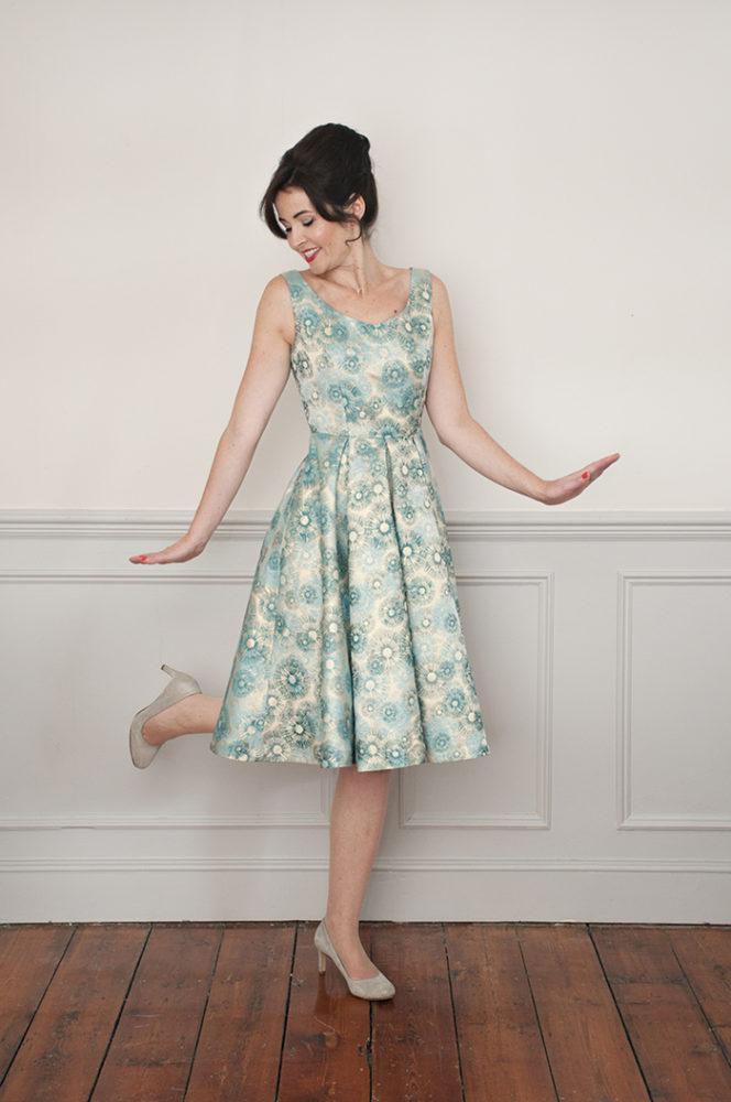 Elsie dress in floral brocade