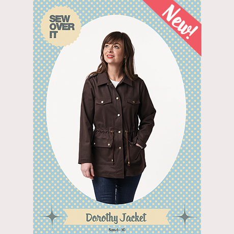 Dorothy Jacket Sewing Pattern cover featuring Anna wearing a brown cotton canvas sample, stood with one hand in her pocket and looking off into the distance.