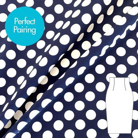 Sew Over It Online Shop - Stretch Cotton - Large Polka Dot Navy