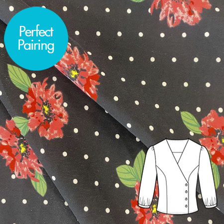Sew Over It - Crepe - Spots and Roses Black